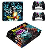 eFinger Vinyle Protection for Dragon Ball Super Body Design Decal Skin Sticker Autocollant for PS4 Pro Playstation 4 Pro Console+Controllers
