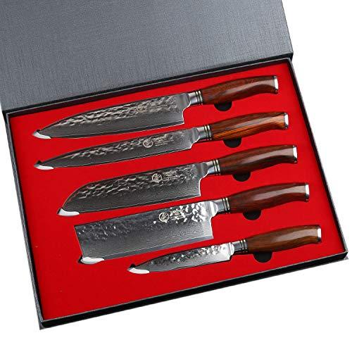 Yarenh Set di 5 coltelli da cucina damascati,lama damascata giapponese,coltello cucina in acciaio damasco, coltello da chef, coltello cucina verdure,coltello giapponese sashimi in set di coltelli