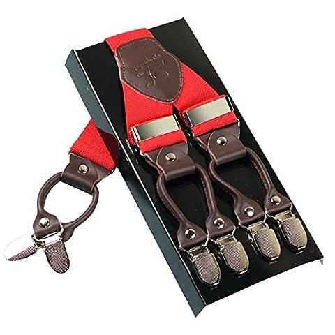 Hommes Lourds Bracelets KANGDAI 6 Boucles Y Retour 10 Couleurs Suspensions ajustables élastiques et durables Clips en métal fort (rouge)