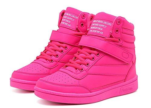 Wealsex High Top Sportschuhe damen Schuhe Wedges Klettverschluss Sneakers 2017 Frühling- Sommer schuhe Rose Rot