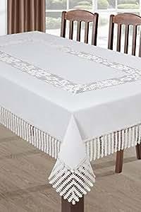 110x160 weiße Tischdecke Tischtuch Spitze Modern Folk pflegeleicht praktisch elegant Material Nature 2