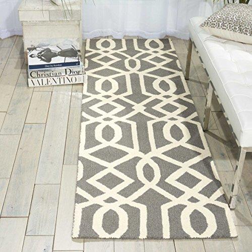 Nourison Teppich Mondrian 99446220875-Grau/elfenbeinfarben handgewebt Teppich, grau/elfenbeinfarben, 2ft 3Zoll x 7ft 6 - Nourison Nourison Teppich Grau