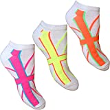 Ladies & Girls Fluorescent Great Britain Neon Union Jack Trainer Socks (3 Pair Multi Pack)