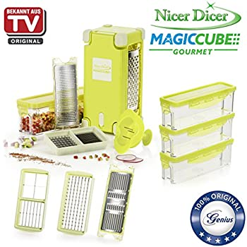 genius nicer dicer magic cube deluxe set 19 pieces slicing grating julienne spirals. Black Bedroom Furniture Sets. Home Design Ideas