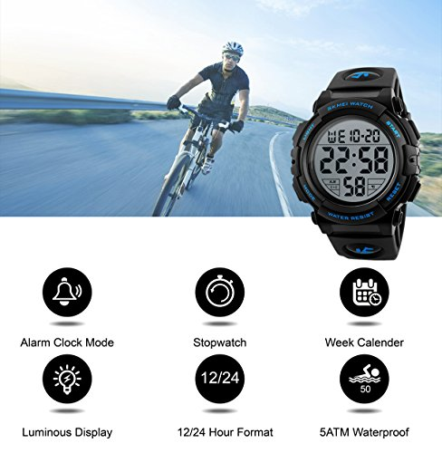 a1e972491 Mens Digital Sports Watch, Outdoors Running 5ATM Waterproof Military Watches,  Cool Sport Large Face Wrist Led ...