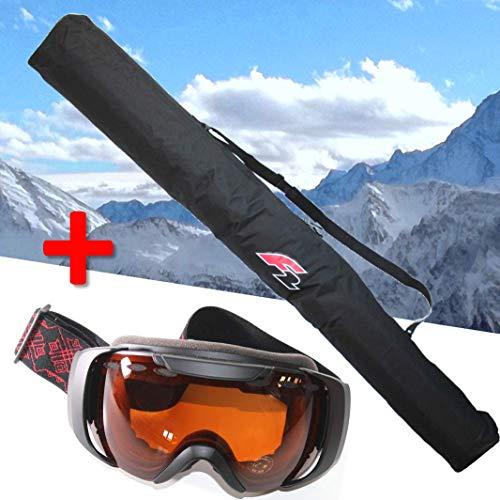 F2 Skitasche für 1 Paar Ski bis 190 cm + Skibrille FTWO Schwarz orange Getönt UV 400 Schutz Brille Skisack Skier Transport ~yx 277+