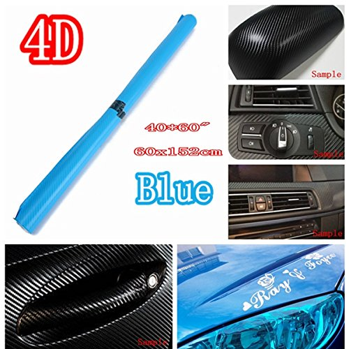 Forspero 24 Inch X 60 Inch 4D Gloss Blue Car Auto Carbon Fiber Drum Wrap Skin Sticker Decal Cover