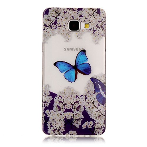 Coque Samsung Galaxy A3 2017 TPU Silicone Case,Vandot 3in1 Samsung A3 A320 2017 TPU Clair transparent Etui avec Bling Sparkle Cristal Rhinestone Coque Briller Diamont Strass Housse Extrêmement Mince L C-Papillon Bleu