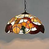 Tiffany Stil Pendelleuchte, 16-Zoll-amerikanischen kreative Glasmalerei Grape Design Pendelleuchte, moderne minimalistischen Wohnzimmer Restaurant Bar Kunst hängende Lichter E27 (ohne Lichtquelle) Gli