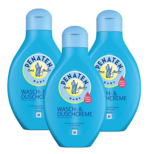 Penaten Wasch- & Duschcreme 400ml - Mildes Waschgel für Babys - Ideal zum sanften Baden und Waschen von Babys - Keine Tränen mehr (3 x 400ml)