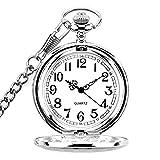 Taschenuhr mit Kette Herren Damen Quarz Digital für Weihnachten Geburtstag Vatertag Geschenk (Silber)