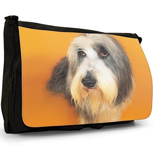 Fancy A Bag Borsa Messenger nero Samoyed Dog Bearded Collie Dog