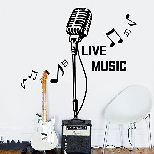HCCY Mikrofon Wandaufklebern KTV bar Mikrofon Notizen Aufkleber Musik Unterricht Klavier Instrumente Tanz Dekoration Aufkleber Glas einfügen, schwarz, 13 * 57 cm