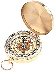 Alerta Classic reloj de bolsillo con tapa luminoso Camping brújula reloj de aleación de Golden