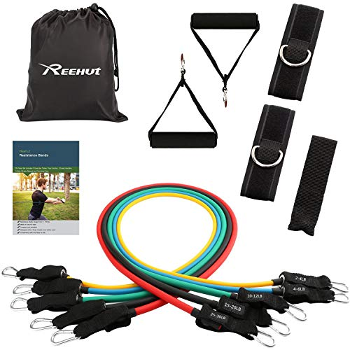 REEHUT Resistance Bands Expander Set mit Tasche - 5 Widerstandsbänder + 2 Griffe + 2 Fußschlaufen + Türanker für Training Fitness Yoga Gymnastik Plates Krafttraining Physiotherapie Band Griffe