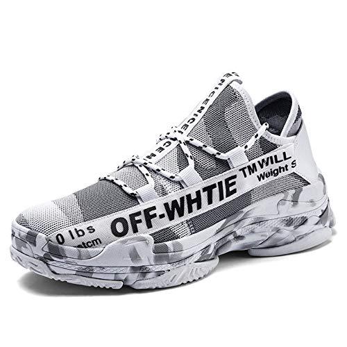 ASDFGH Basketball-Schuhe, Camouflage Casual Sportschuhe Stoßdämpfung Atmungsaktiv Rutschfeste Fliegen Gewebte Mesh Sportschuhe Herren Outdoor Laufschuhe,White,39 (Fliegen Jordan)