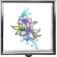 metALUm Pillendose/quadratisch / Modell Thorben/Natur - Blumen/Zeichnung einer Blüte / 42010025 preisvergleich bei billige-tabletten.eu