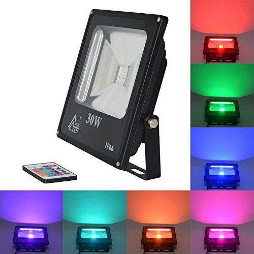 Rsn rgb faretto con telecomando esterno ip65impermeabile luci cambia colore 20w 30w 50w europeo spina orientale 30w