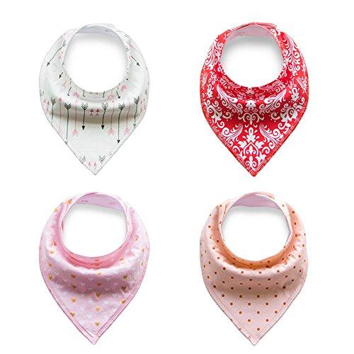 4er Pack Baby Dreieckstuch Lätzchen Spucktuch für Mädchen, Einstellbar Weiche Baumwolle Kerchief mit Druckknöpfen (Rosa / rot / orange / weiß)