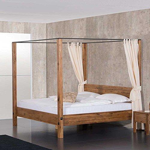 Pharao24 Massivholz Himmelbett aus Eiche geölt Landhaus Breite 157 cm Liegefläche 140x200