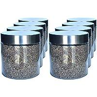 Pack 8 Bote de Cristal, 0,9 L (12x11 cm), con Tapa de Acero Inoxidable. Tarros de Cristal.