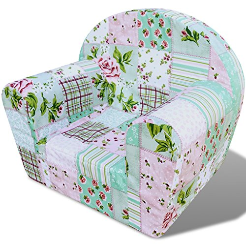 Festnight Kindersessel Sessel Babysessel Kinderm?bel Kindersofa 44 x 53 x 36 cm Blumenmuster für Spielzimmer oder Schlafzimmer