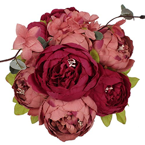 Luyue bouquet di peonie finte in seta, in stile vintage, per decorare la casa o matrimoni new dark red