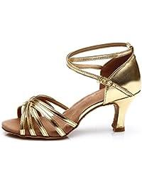 misu - Zapatillas de danza para mujer Dorado dorado, color Rojo, talla 35