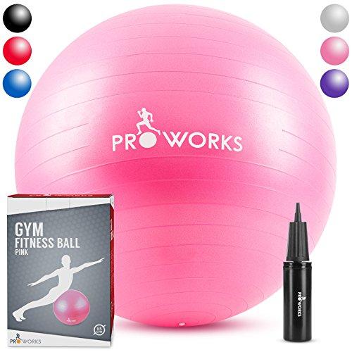 Proworks Gymnastikball [65cm] Heavy Duty Sitzball für Sport Physiotherapie Schwangerschaft Yoga Pilates - Fitness Ball für Rückenübungen und Dehnübungen - in 6 verschiedenen Farben inkl. Pumpe - Rosa