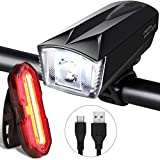 iTechole Bike Light Set, Rechargeable Bicycle Lights with 300LM Waterproof Front Headlight