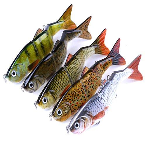 Laileya 5PCS / Set Multi verbunden Angelhaken Köder Minnow Fische Locken Lachsforelle Bass Künstlicher Köder-Gerät mit 2 Haken -