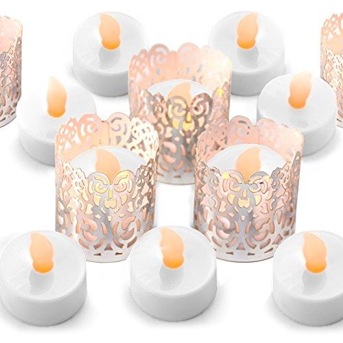Flammenlose Teelicht Votivkerzen - Silber Dekorative Halter Wraps Enthalten, LED Teelichter Mit Warmen Gelben Flickering Flame, Batterie Betrieben - 24 -