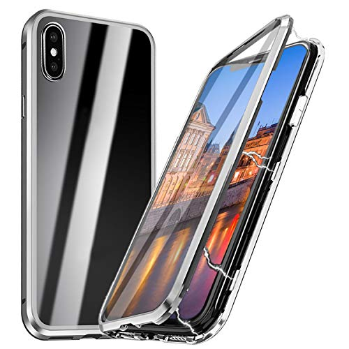 iPhone X Magnetische Hülle mit Panzerglas, Qianyou iPhone X/XS Magnetische Adsorption Glas Handyhülle mit Rahmen Panzerglas Rückseite Vorne und Hinten 360 Grad Schutzhülle Bumper Case 5,8''-Silber -