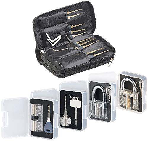 4 Werkzeug-set (AGT Dietrich Set Profi: Profi-Lockpicking-Set mit 32 Werkzeugen und 4 Übungsschlössern (Schloss Knacken))