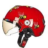 HJL Nette Roller Motorrad kinderhelm Vier Jahreszeiten Elektroauto Cartoon Junge Mädchen Baby Leichte Kindersitz (Farbe : Red, größe : M)