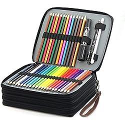 Laconile - Estuche organizador de lápices de colores para estudiantes, de piel sintética, 168 ranuras de gran capacidad, con asa y correa para el asa, color marrón