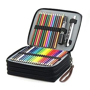 Laconile – Estuche organizador de lápices de colores para estudiantes, de piel sintética, 168 ranuras de gran capacidad, con asa y correa para el asa, color marrón