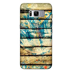 Samsung S8 Premium Stylish Printed Designer Hard Back Cover Case | Blue Flower on Wooden Planks | Painting | Colorful | Not a real wood | Scratch Proof | Lifetime Printing Guarantee | HD Printing Quality | Waterproof | Durable | Slim Light Weight | Matte Polycarbonate Plastic Case Cover | 3 Side Edge to Edge Printing - Crazyink