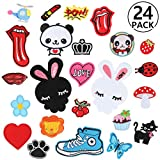 RYMALL 24 PC Patch Sticker, Cute DIY Ropa Parches para la camiseta Jeans Ropa Bolsas