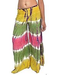 Hippie pantalones anchos de la pierna de la llamarada usuarios Tro Boho trajes de danza del vientre tribal (Paquete de 2)