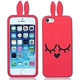 Weich silikon gummi Kaninchen hülle schale abdeckung case cover housing für iPhone 5 5G 5S(kann nicht passen 5C)_rot