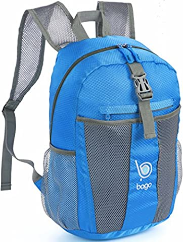Bago Lightweight Backpack. Waterproof Collapsible Rucksack for Travel and Sports. Foldable and Packable Daypack for Adults, Teens and Children. 25l Blue