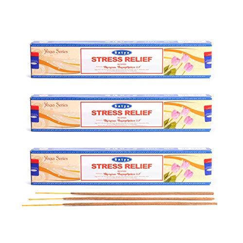 aqasha Räucherstäbchen 3er Set | 36 Sticks - 20 cm - Brenndauer ca. 45 min. Stressabbau Stress Relief - Indisch | Satya Nag Champa Yoga Serie | Original Shrinivas Sugandhalaya -