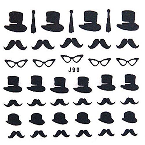 EVTECH (TM) 3D Nail Sticker noir Moustache mignonne Nail Sticker Chapeau Lunettes Visage Chaplin Amour coeur Nail Sticker Art (5piece)