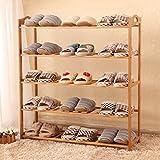 Y-Yang einfacher mehrlagiger Schuhschrank aus massivem Brett, staubdicht, Bambus-Schuhständer, Aufbewahrungsregal, kreativer einfacher Stil, optionaler Schuhständer Style 2