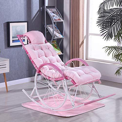 Cuscino sedia a dondolo ispessimento reclinabile ispessimento sedia a dondolo peluche sedia a dondolo ispessimento poltroncina peluche rosa acqua 125 * 46
