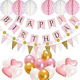 Simplefirst Geburtstag Party Dekorationen für Mädchen, alles Gute zum Geburtstag Dekoration Set, 13 Buchstaben Banner Fahnen, 17 Luftballons, 15 Dreieck Bunting Fahnen, 6 Papier Pompom Bälle, 400cm String Garland Geburtstag Lieferungen