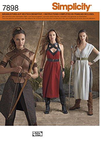 7898 Kostüm für Damen, Kriegerin, Amazone, Simplicity, H5 (32 - (Kriegerin Kostüm)