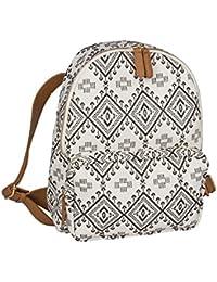 """SIX """"Ethno"""" großer Rucksack Damen Handtasch mit Reissverschlusstasche aus Canvas Stoff schwarz-weißes Ikat-Muster, braune Kunstleder Riemen (463-164)"""