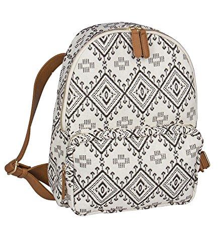 SIX Sommer Damen, Rucksack, Handtasche, Reissverschlusstasche, Canvas Stoff, schwarz-weiß, Ikat-Muster, Kunstlederiemen, braun (463-164)